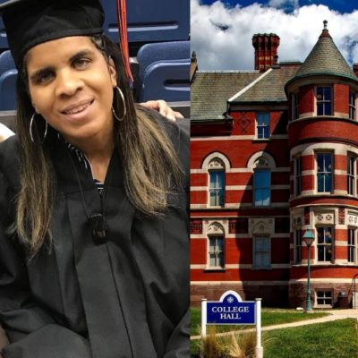 [Image description: Photo collage. Left photo is of Ashley Jackson in her graduation outfit smiling, and Elaine Brown next to her, who is also smiling wide, and has an arm around Ashley. Elaine is holding a walking stick. Right photo is of Gallaudet University College Hall building.] Photo Permission: (L) Ashley Jackson (R) Pixabay