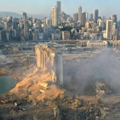 An aerial view image that shows the scene of the explosion in Beirut.