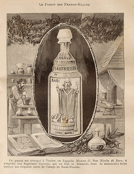 Illustration of Aqua Tofana in a bottle disguised with the image of Saint NIcholas of Bari