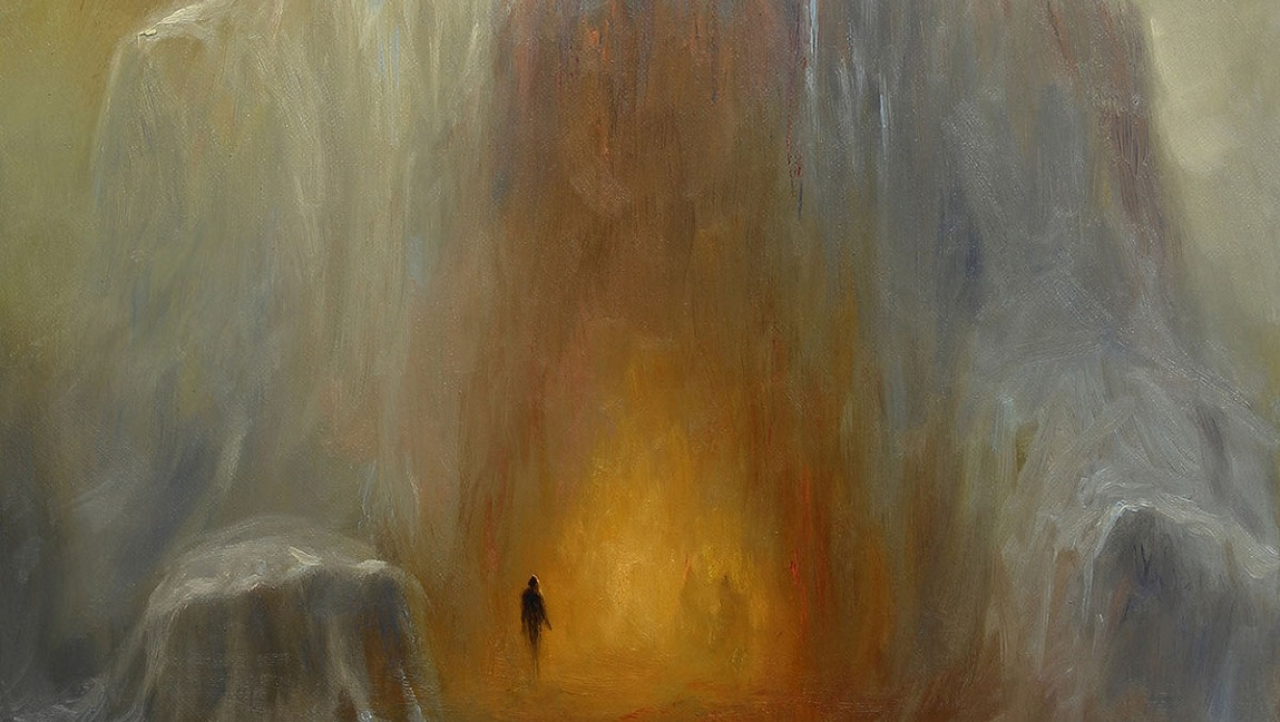 The album art for Walk Beyond the Dark, the atmosopheric black metal album by Abigail Williams. A painting of a hooded figure overshadowing smaller figures walking towards the center of the cloaked figure.
