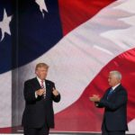 An image of U.S. president Donald Trump and Vice President Mike Pence in front of an American flag.