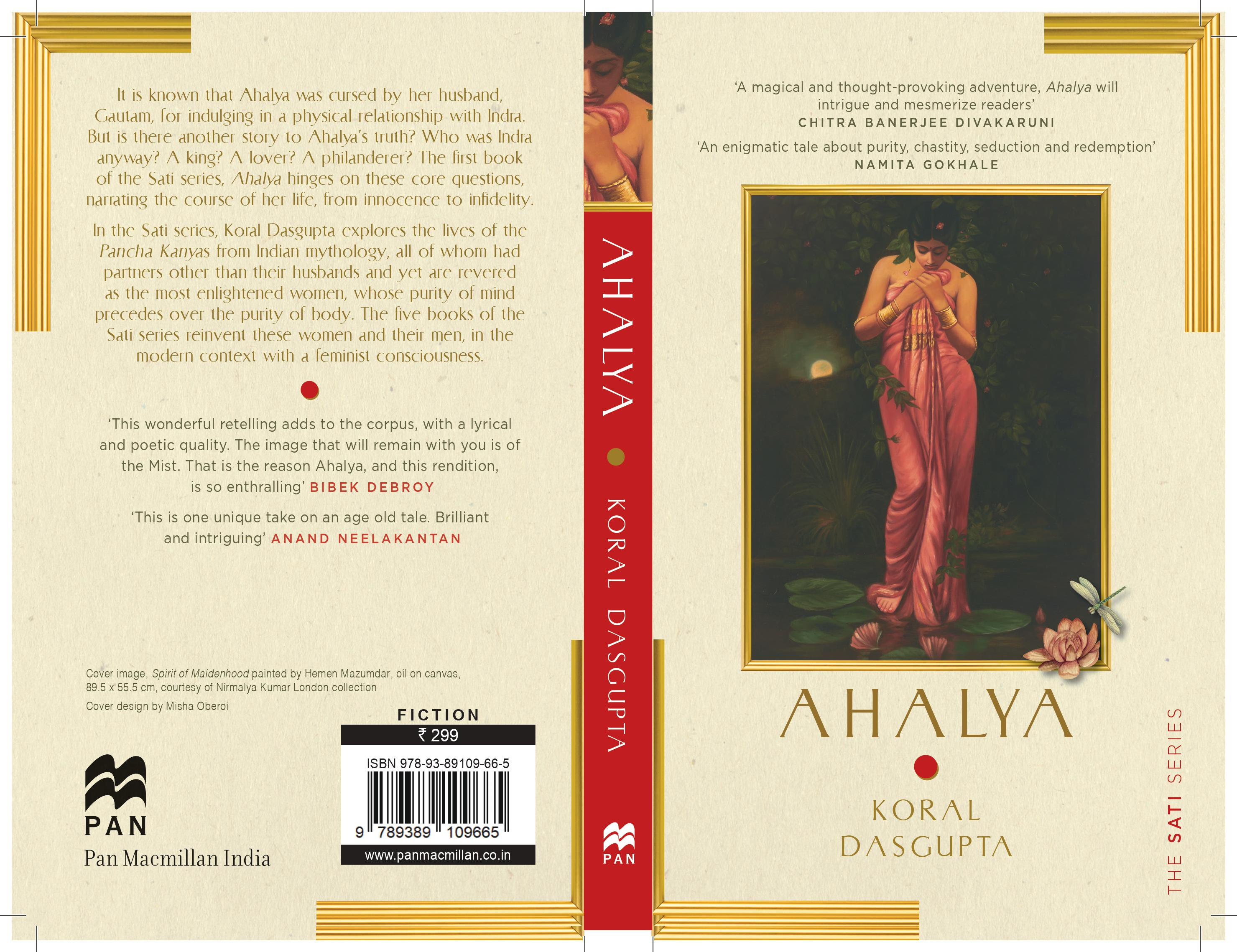 The image shows the book jacket of Ahalya written by Koral Dasgupta with description written on the left panel and an illustration of a woman on the right panel.