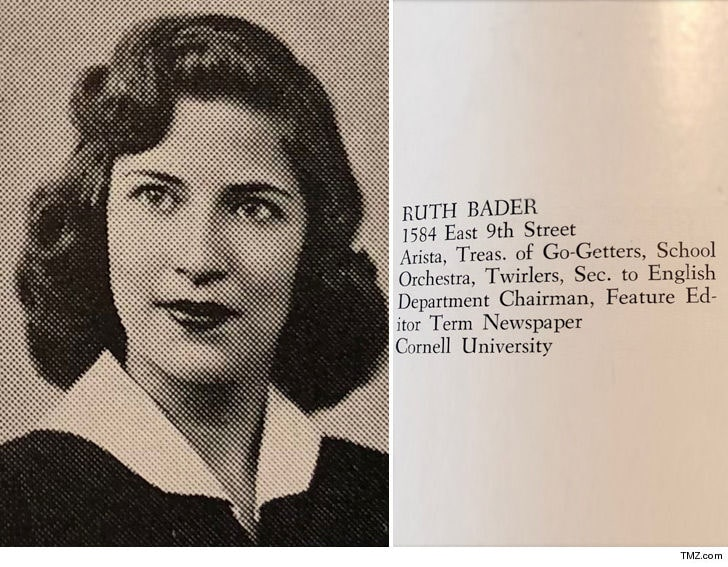 [Image description: Yearbook photo of Ginsburg, as well as her achievements and associations.] via TMZ
