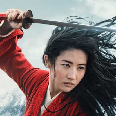 Mulan, a black-haired Asian woman, is dressed in a red ensemble, holding a a thin sword, a jian, over her head.