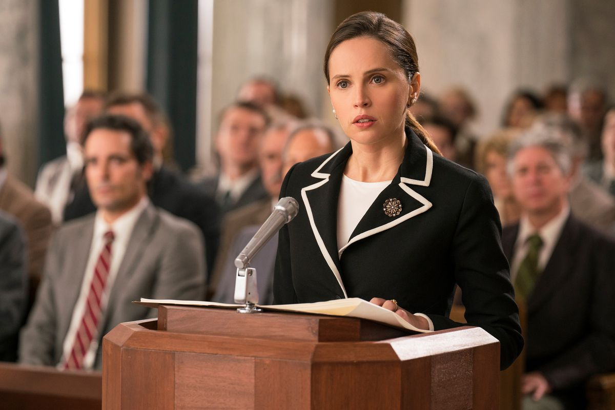 [Image Description: RBG on the stand in the movie 'On the Basis of Sex'] Via IMDB.