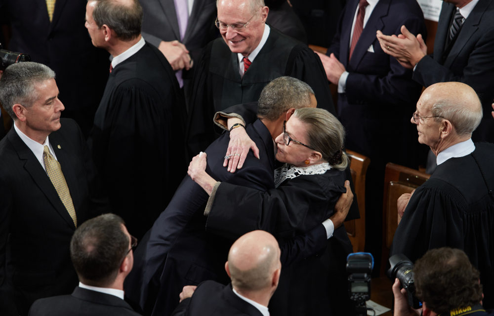 [Image Description: RBG and Obama hug] Via SkyNews.