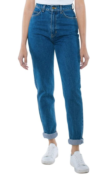 [Image description: Model wearing blue American Apparel mom jeans]