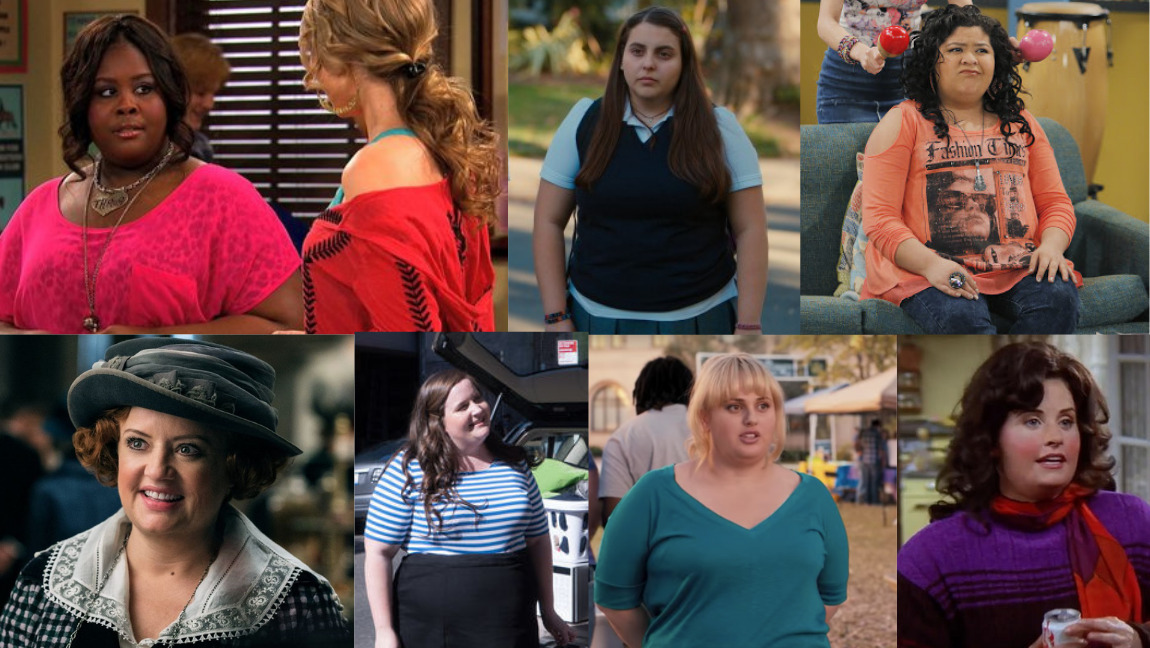 [Image description: a collage of seven examples of the funny fat women trope]