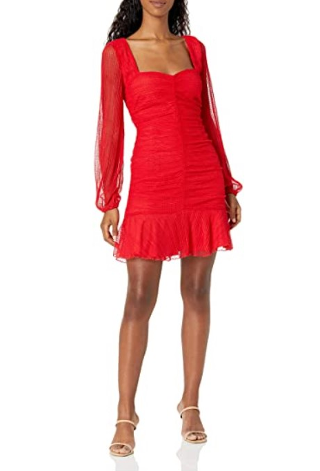 [Image description: Model wearing red long-sleeve bodycon dress.]