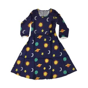 [Image description: Navy blue dress with cartoon solar system print including moons, suns and planets.]