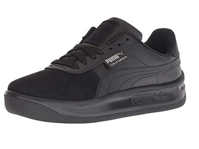 [Image description: black PUMA sneakers with white background]