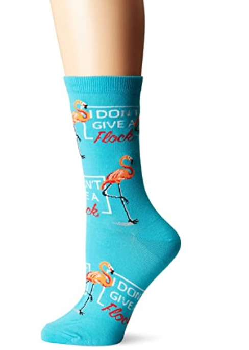 [Image description: Turquoise socks with flamingo pattern.] via Amazon