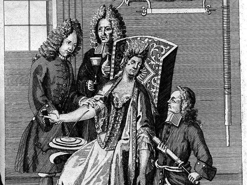 Scene of Bloodletting carried out by professionals, at the time, on a woman.
