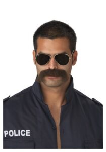 Police officer with thick mustache and glasses