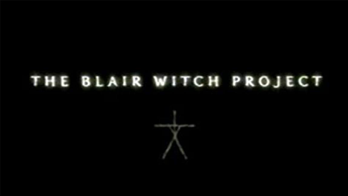 "Black background with white texts saying ""The Blair Witch Project"""