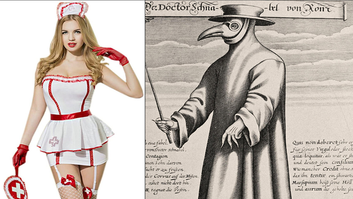 Woman in white dress with red trim next to a drawing of a pandemic doctor with a beak mask
