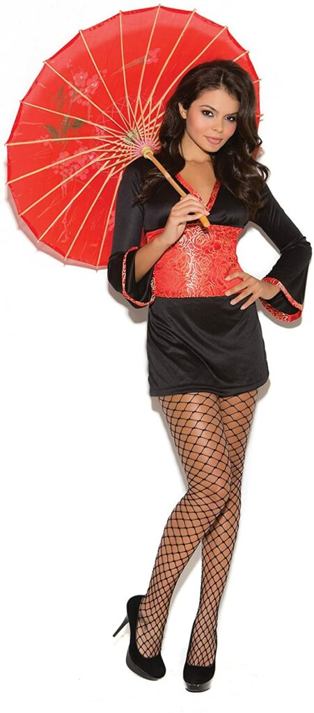 A woman holding a red parasol, with a black kimono and high heels.