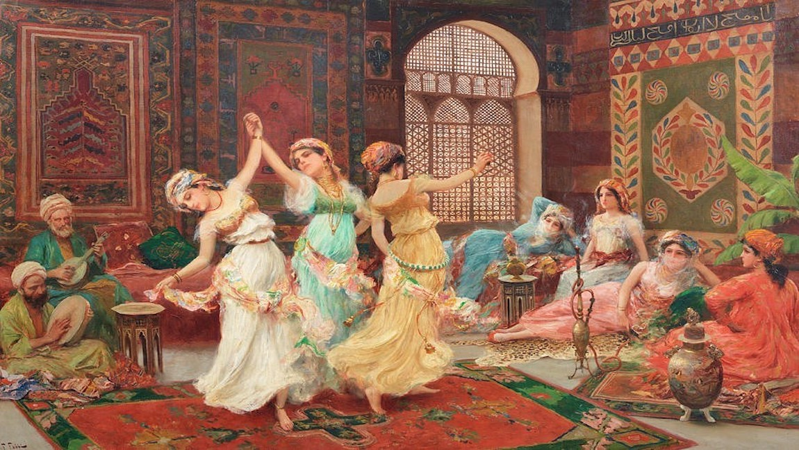 [Image Description: A painting of women dancing in the harem. There are men are sitting around playing musical instruments.] via Pexels