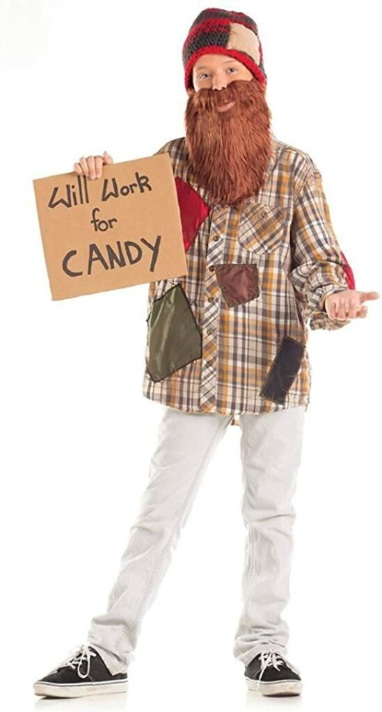 """A child dressed up as a homeless person holding a sign saying """"will work for candy."""""""