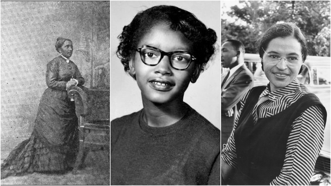 A collage of black and white photos. Elizabeth Jennings is on the left, Claudette Jennings is in the middle, and Rosa Parks is on the right.