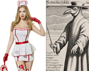 Sexy nurse in a red and white dress next to a pandemic doctor in a full robe and beak