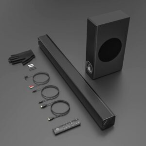 The Pheanoo Soundbar with accessories.
