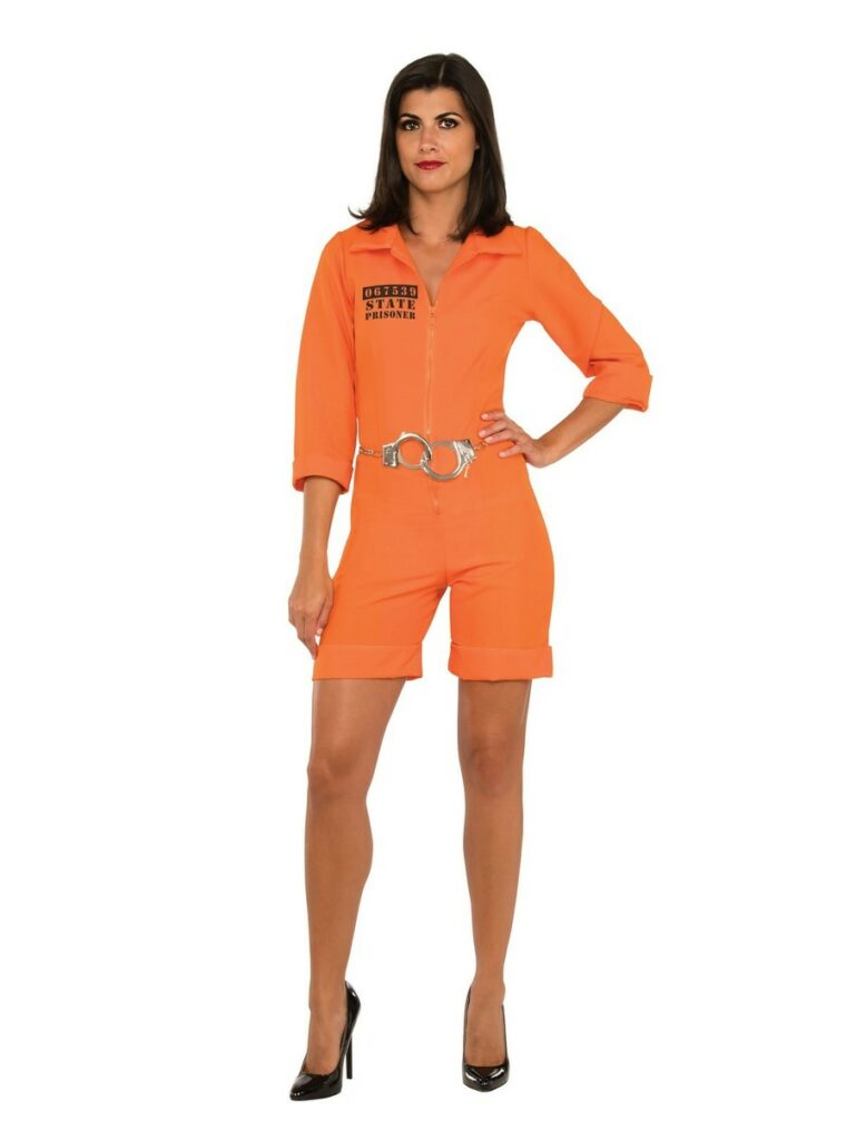 A woman dressed as a prisoner wearing an orange jumpsuit that is cropped with high heels.