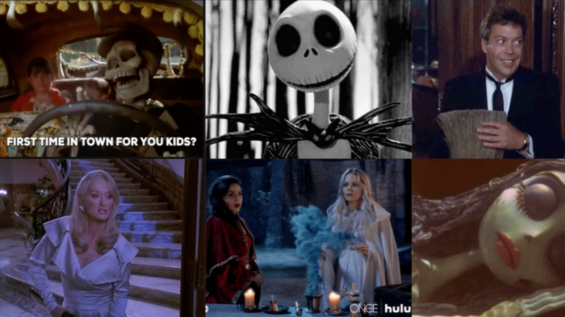 [Collage of Death Becomes her, Halloweentown, The Nightmare Before Christmas, Clue, Once Upon a Time, and Corpse Bride]