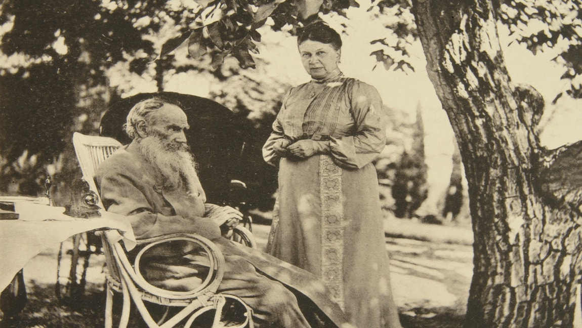 [Image Description: Sophia Tolstoy (right) with Leo Tolstoy (left) in Crimea in 1902.] via NY Times