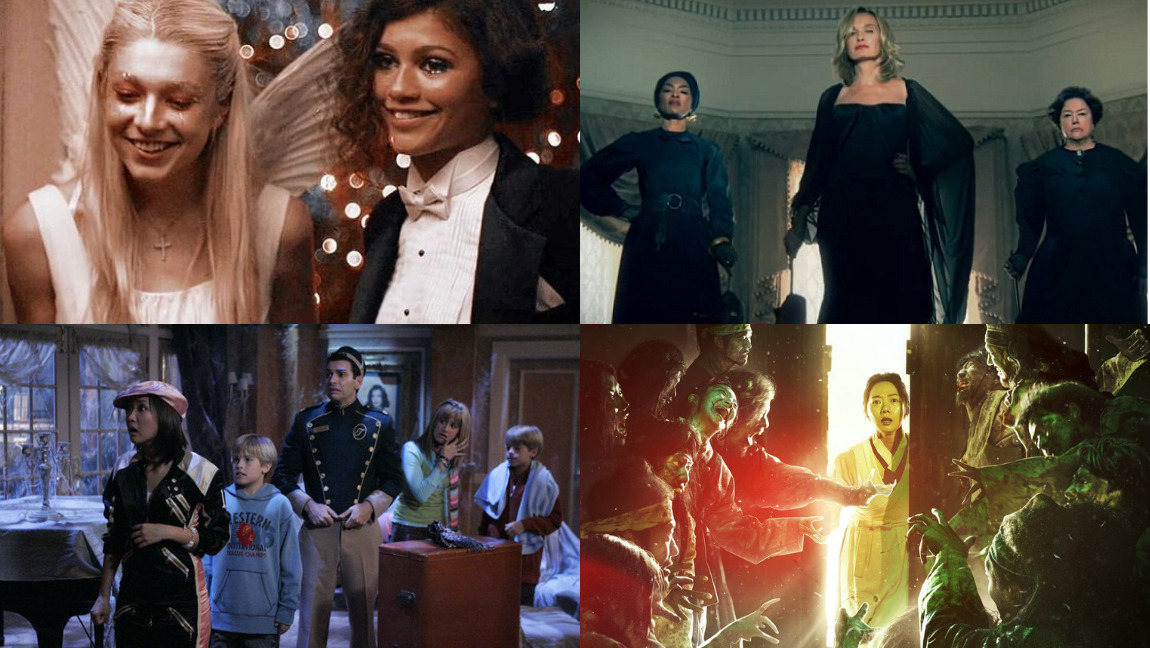 Clockwise from upper left - Stills from Euphoria, American Horror Story: Coven, Kingdom, and The Suite Life of Zack & Cody.