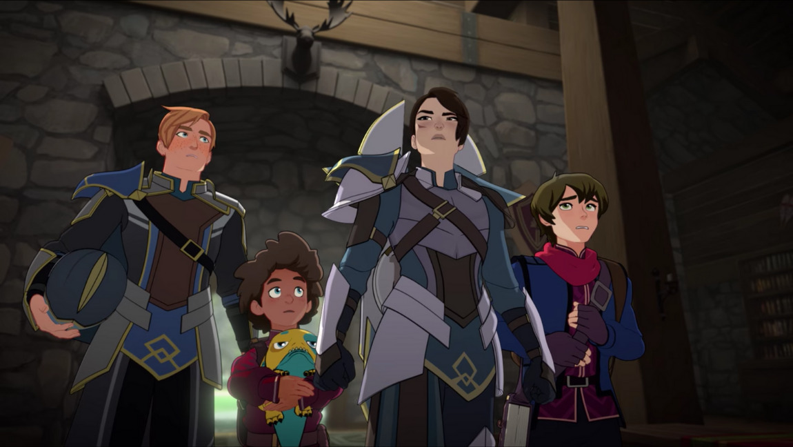 [Image description: still from The Dragon Prince. Aunt Amaya, a woman in armor and close-cropped hair, standing in front of a young boy, a teenager and a man], via Netflix
