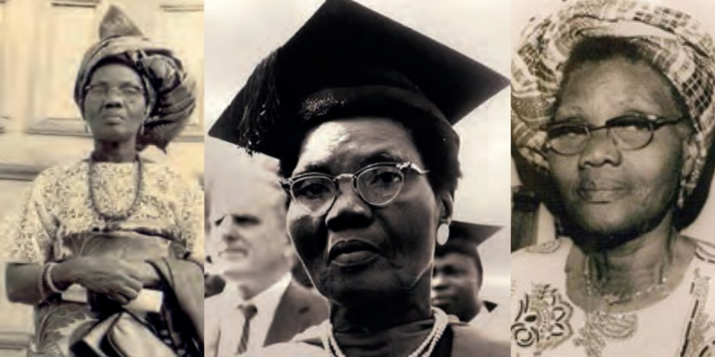 Three pictures: one of Funmilayo standing with her arms crossed in front of her, a close-up shot of her in a graduation hat, and one of her staring ahead