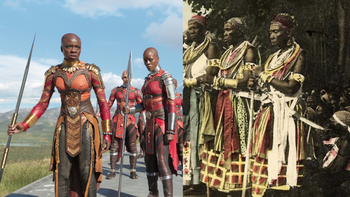 Two photos: one photo of a group of warriors holding weapons, and another of the Dora Milaje, a group of women dressed in red, holding spears