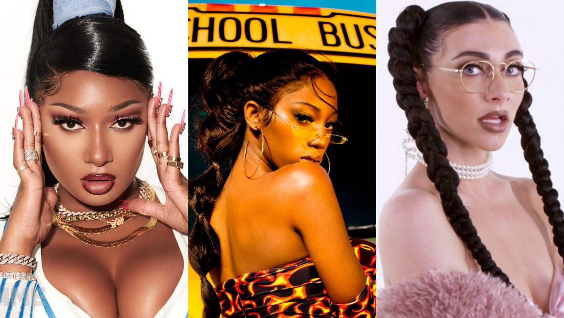 [Image description: Collage of Megan Thee Stallion, Flo Milli, and Qveen Herby.] via rollingstone.com, respect-mag.com, and last.fm.]