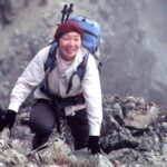 Junko Tabei smiling as she climbs Pico Bolivar, a mountain in Venezuela