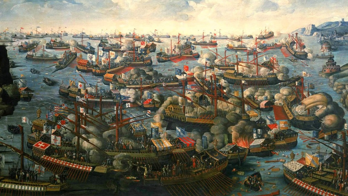 A 19th century illustration of the 1571 naval Battle of Lepanto.