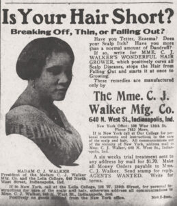 """A newspaper Ad for Madam CJ Walker's for Wonderful Hair Grower product that is titled """"Is Your Hair Short?"""" On right is a picture of her and on the left there is an article promoting the product."""