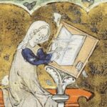 A manuscript illustration of Marie de France as a woman in white and blue clothing, sitting on a bench and writing in a book.