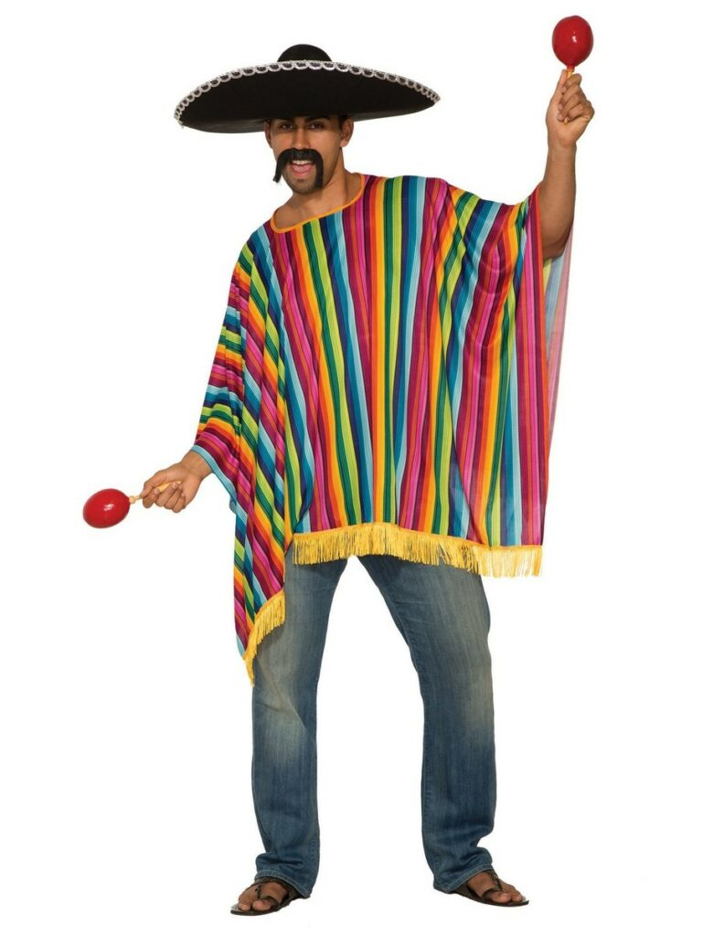 Man wearing a sombrero, poncho, mustache and holding maracas in both his hands.