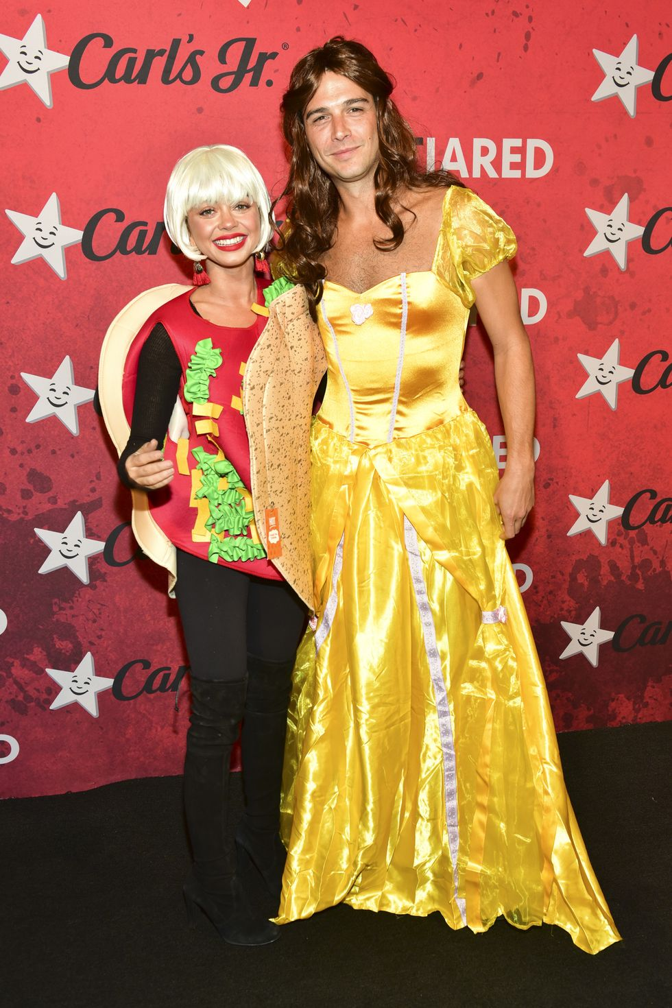 Sarah Hyland and Wells Adam as 'Taco Belle', with Wells dressed as Belle from Beauty and the Beast and Sarah as a taco.