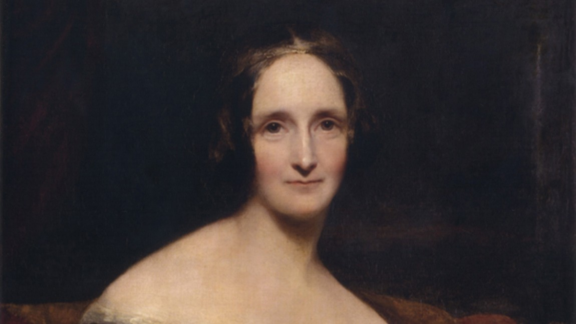 Richard Rothwell's portrait of Mary Shelley, depicting the woman facing the viewer. The woman wears an off the shoulder top and has dark hair and pale skin.