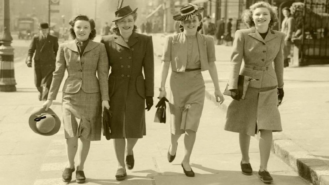[Image Description: Four women sporting blazers and slim skirts in the early years of World War 2.] via Walcha News