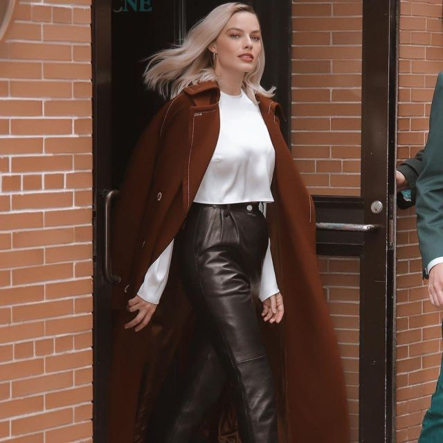 Margot Robbie in leather pants