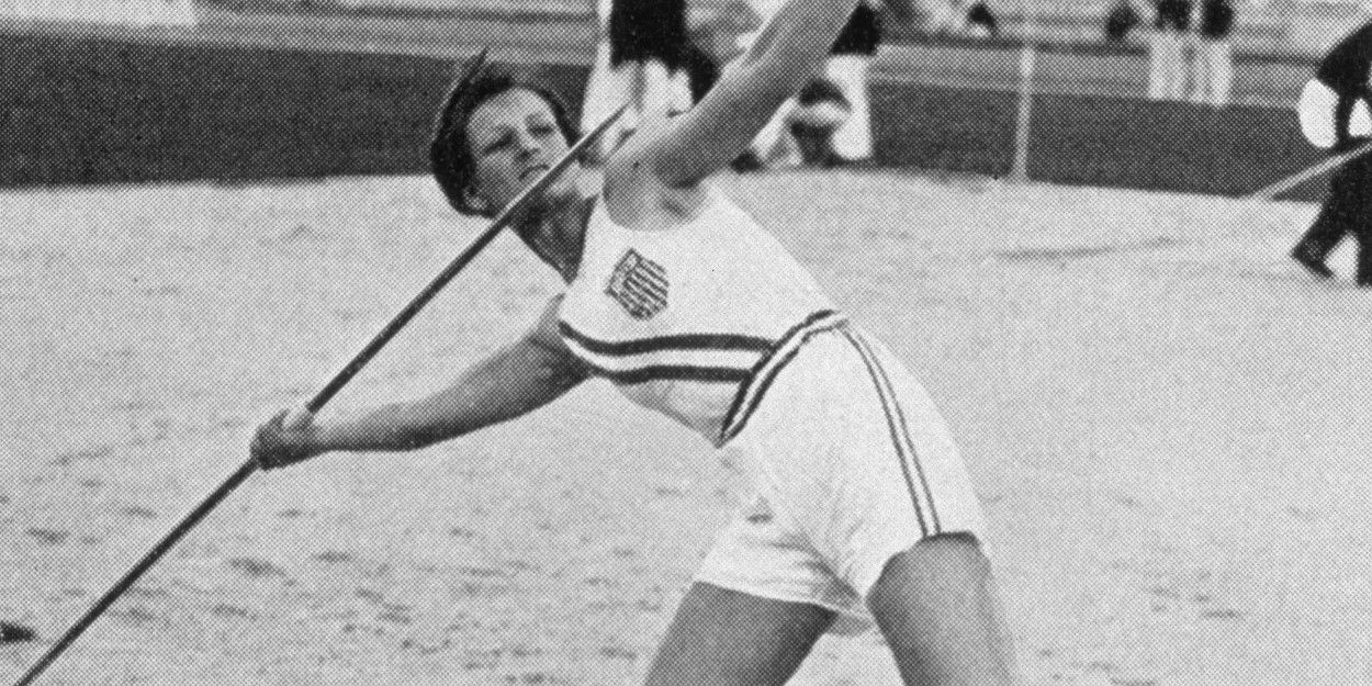Babe Didrikson Zaharias preparing to throw a javelin during the 1932 Olympics in Los Angeles.