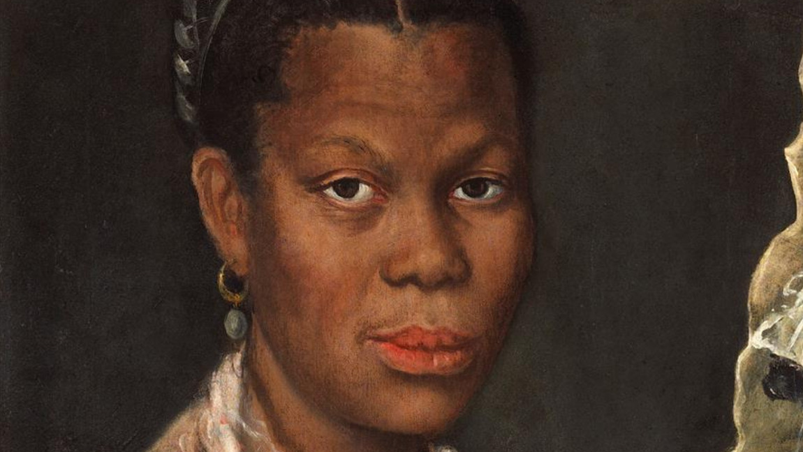 [Image description: A Baroque-style painting by Annibale Carracci. It portrays an African woman wearing a red coral necklace, pearl earrings, and a black long-sleeve dress with a white lace collar.] Via Wikimedia Commons