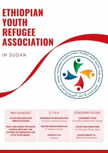 A poster from the Ethiopian Youth Refugee Association, and their logo