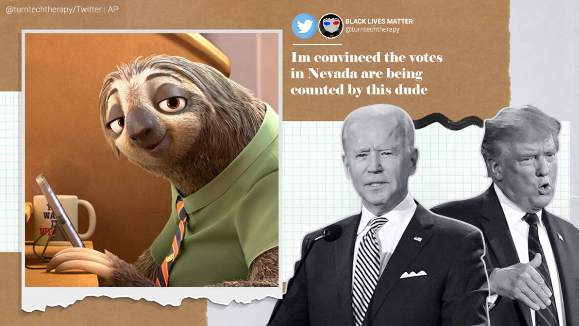 Meme saying 'I'm convinced the votes in Nevada are being counted by this dude', referring to the sloth from Zootopia