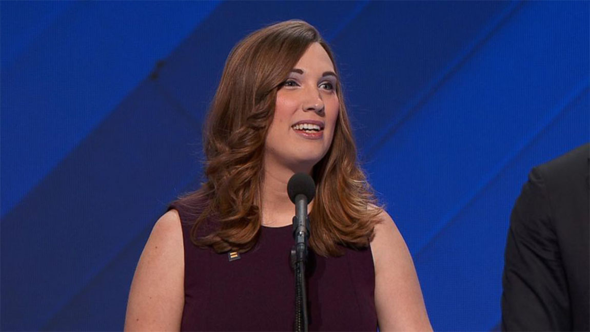 Sarah McBride speaking at the DNC