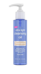 Neutrogena Ultra Light Face Cleansing Oil & Makeup Remover is in a clear blue bottle and a gray dispenser.