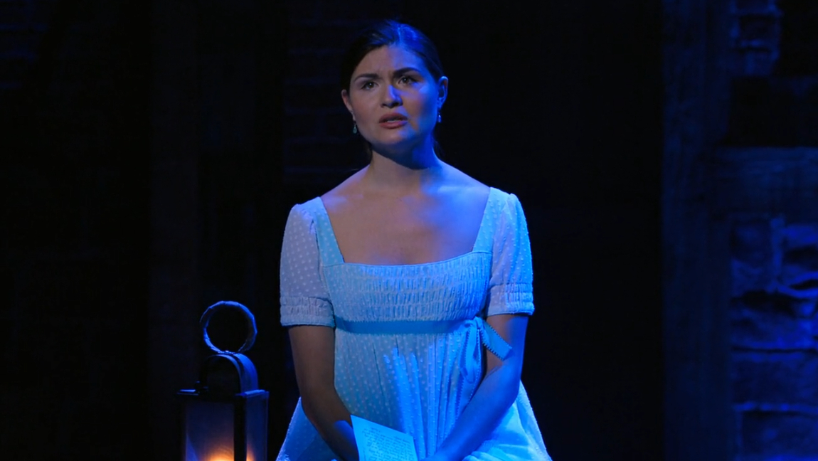 A screen grab from Hamilton on Disney+. The photo is of Phillipa Soo, playing Elizabeth Schuyler.